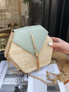 Шестиугольник Mulit стиль солома + кожаная сумка женская летняя ротанговая сумка ручной работы тканая пляжная круглая богемная сумка на плечо...