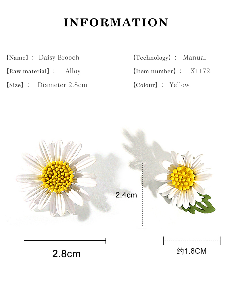 Daisy flower bee scarf clip ring white enamel crystal vintage style lapel clip