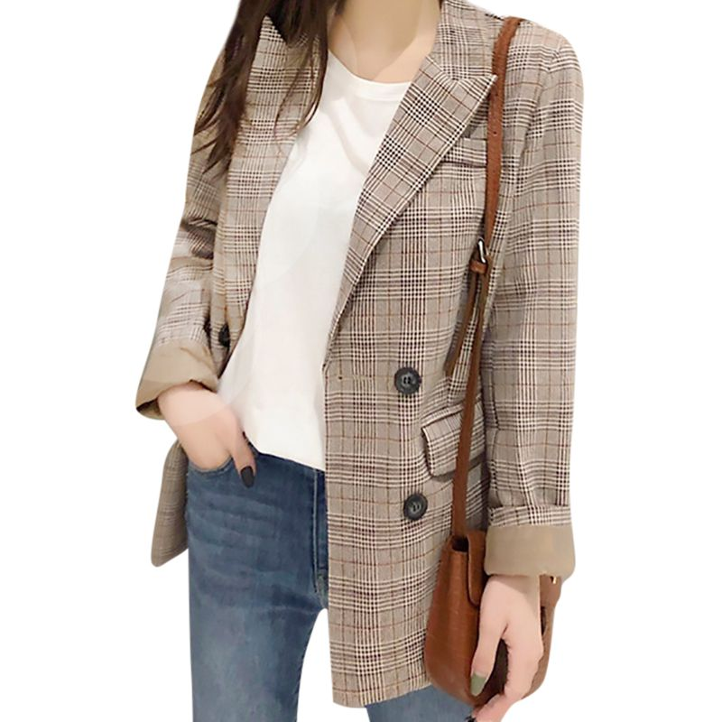 Plaid Suit Jacket Women's Loose Winter Check Print Lapel Double-breasted Pocket Casual Lantern Sleeves Warm Jacket