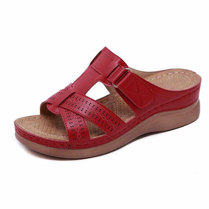 Laamei sommer weibliche sandalen auto linie verschleiß-beständig anti-slip große größe retro mit dicken boden bequeme sandalen
