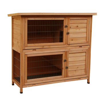 """【US Warehouse】48"""" 2 Tiers Waterproof Coop Rabbit Hutch Wood House Pet Cage for Small Animals"""