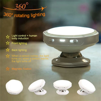 CLAITE 360 Degree Rotating Rechargeable LED Night Light Security Wall Lamp Motion Sensor Light for Bedroom Stair Kitchen Lights