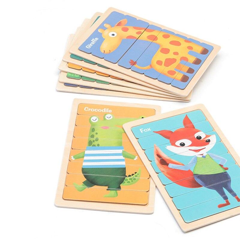 Животные 3D головоломки Монтессори Деревянные головоломки для детей двухсторонний история, головоломка, развивающие игрушки для детей От 2 ...
