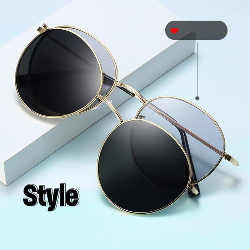 Magnet Polarized Women Men Sunglasses High Quality Retro Round Metal Frames Glasses Fashion Brand Sun Glasses UV400