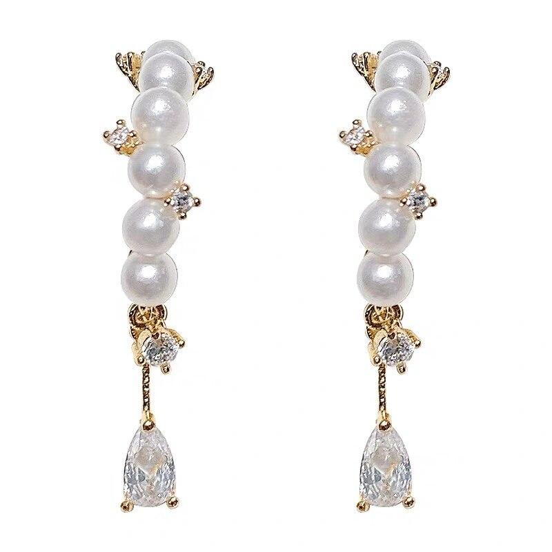 AOMU 2020 Korea New Elegant Zircon Imitation Pearl Geometric Metal Gold Color Earrings for Women Jewelry Gifts