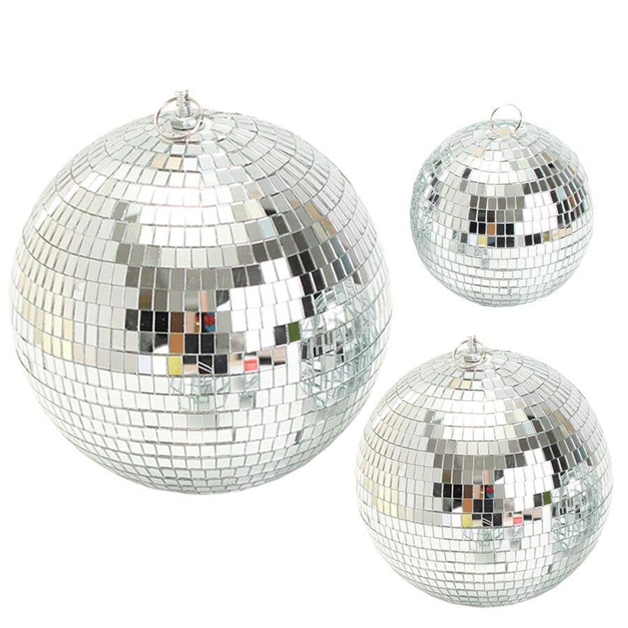 Thrisdar Diameter 15/20/25/30CM Reflective Glass Mirror Disco Ball Christmas Wedding Party Bar Disco Mirror Ball Stage Light
