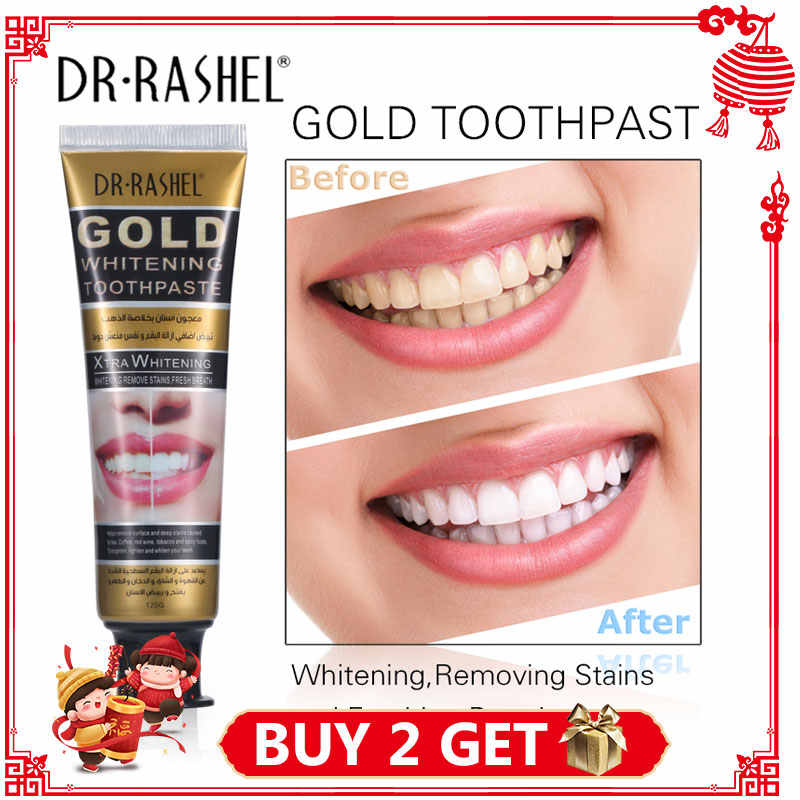 DR.RASHEL Gold Whitening Toothpaste Fresh Breath Remove Stains Oral Health Cleaning Anti-Cavity Brightening Teeth Dental Cream