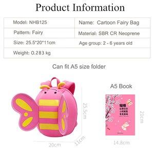Image 5 - NOHOO karikatür çocuk çantası neopren Mini sırt çantaları anaokulu Schoolbag kızlar için 3D kelebek melek kanatları sırt çantası sırt çantası
