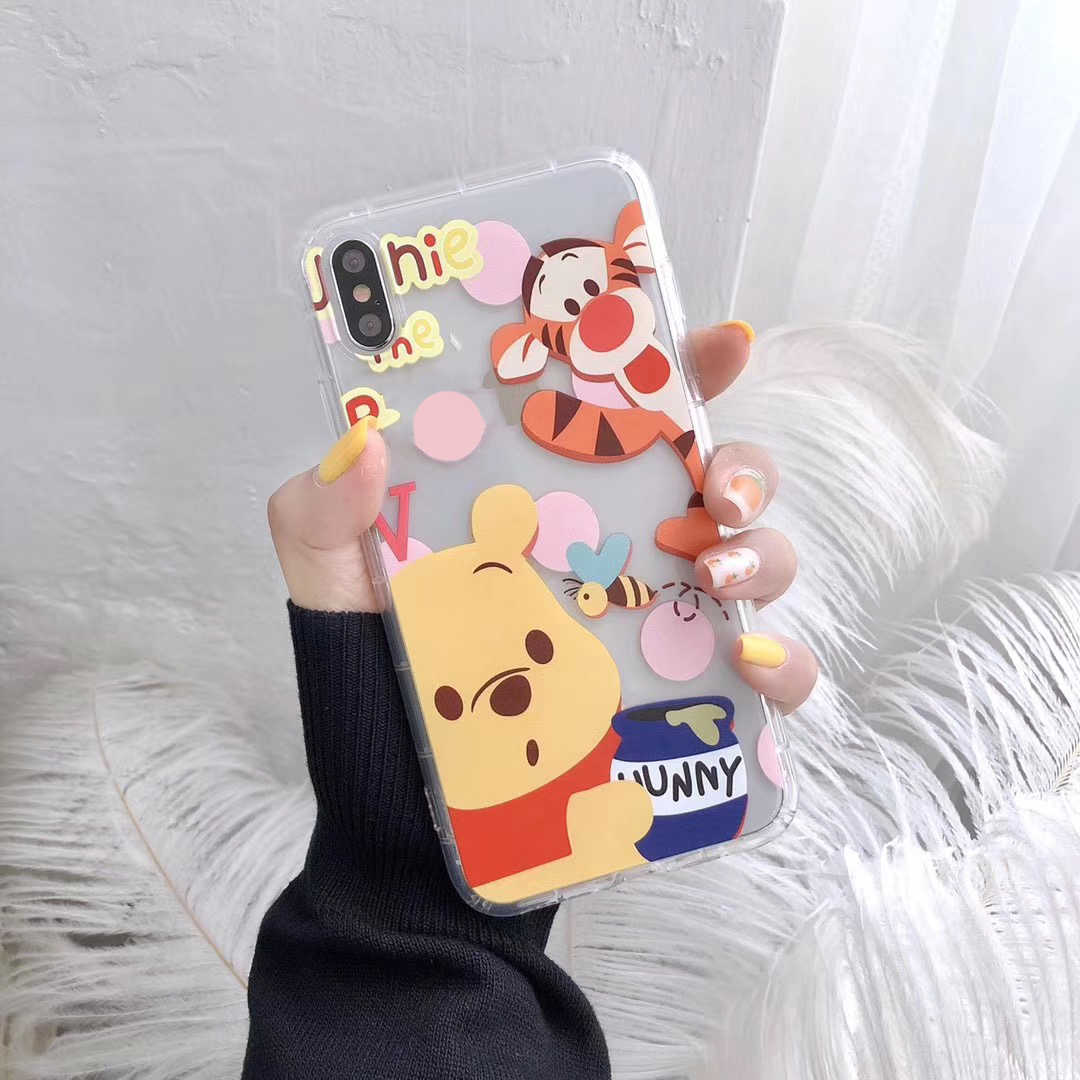 Flor dos desenhos animados Winnie Caso Ponto Para o iphone X XS Max XR 8 7 6 Urso Bonito Cinnamoroll Capa para Samsung s10 S9 Plus Nota 9 Coque
