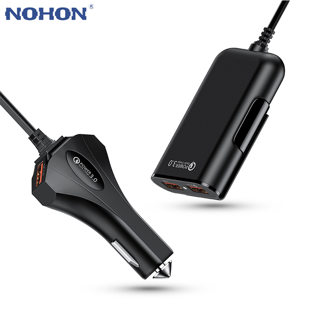 4 Port Quick Charge QC 3.0 USB 3.1 Fast Charger Cable Back Clip Mobile Phone Car Charger Adapter For iPhone Samsung Xiaomi LG