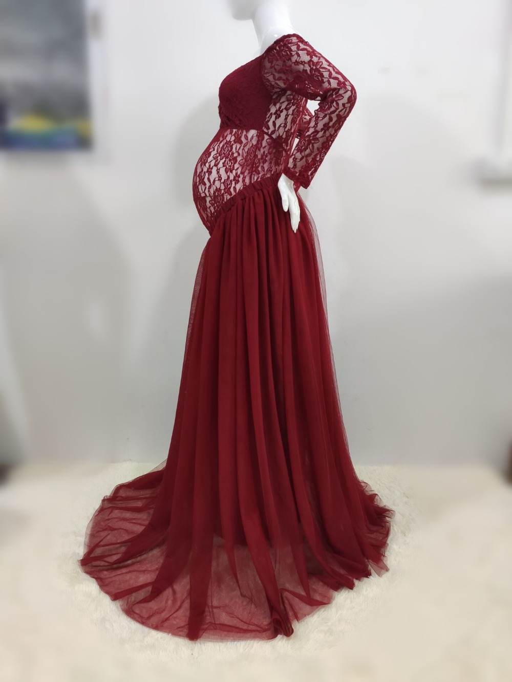 Sexy Lace Maternity Photography Props Long Dress Baby Shower Fancy Pregnancy Dress Photo Shoot For Pregnant Women Mesh Maxi Gown (17)