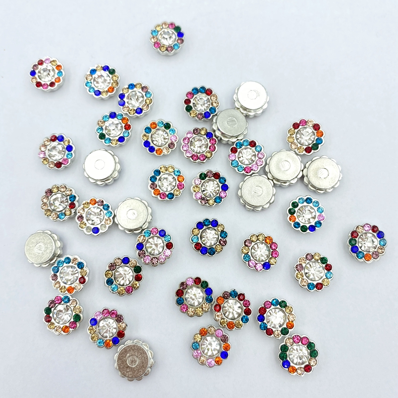 40pcs Mixed color bead with drill buttons flatback Crystal  Decorative Button DIY handmade Flower Center Accessories C311