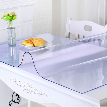 Transparent PVC Tablecloth 1.0mm Thick Cover Protector Tablecloth Transparent Waterproof Tablew Oilproof Table Covers Home