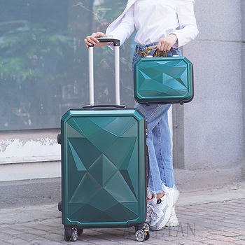 20''22/24/26/28 inch Rolling luggage set travel suitcase spinner wheels trolley luggage bag case Diamond Silver suitcase Women's
