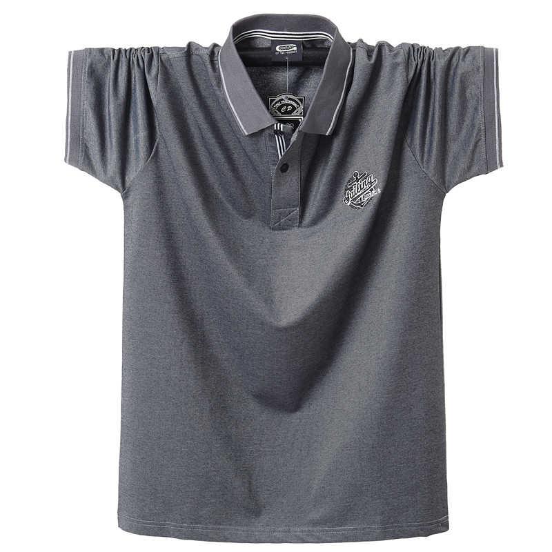 2020 여름 남성 폴로 셔츠 퓨어 코튼 셔츠 반소매 자수 엠블럼 심플 탑 셔츠 오버 사이즈 5XL 솔리드 폴로 셔츠
