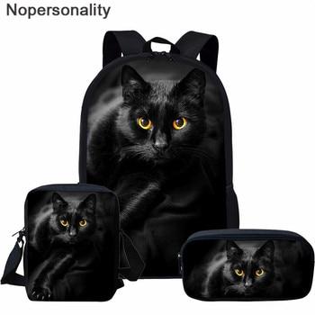 Nopersonality Black Cat Print Large Capacity Schoolbag for Teenager Girls Boys 3Pcs/Set School Backpack Children Bookbag - discount item  23% OFF School Bags