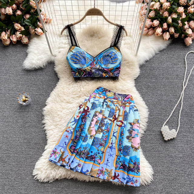 Fashion Summer Holiday Beach Dress 2 Piece Set Women Vintage Print Strapless Tank Crop Top with Pleated Skirt Suit Party Outfit 4