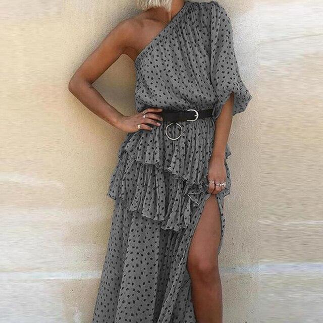 Sexy One Shoulder Irregular Party Dress Spring Summer Dot Print Chiffon Beach Dress Women Elegant Short Sleeve Ruffle Long Dress 4