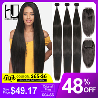 HJ Weave Beauty Straight Human Hair Bundles With Closure 30inch Brazilian Hair Weave Bundles 7A Virgin Hair Bundles With Frontal