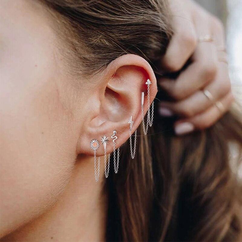 1 pcs Punk Minimalist 925 Sterling Silver lightning Stud Earrings Earpins Ear Plug chain Earrings for men and women A30