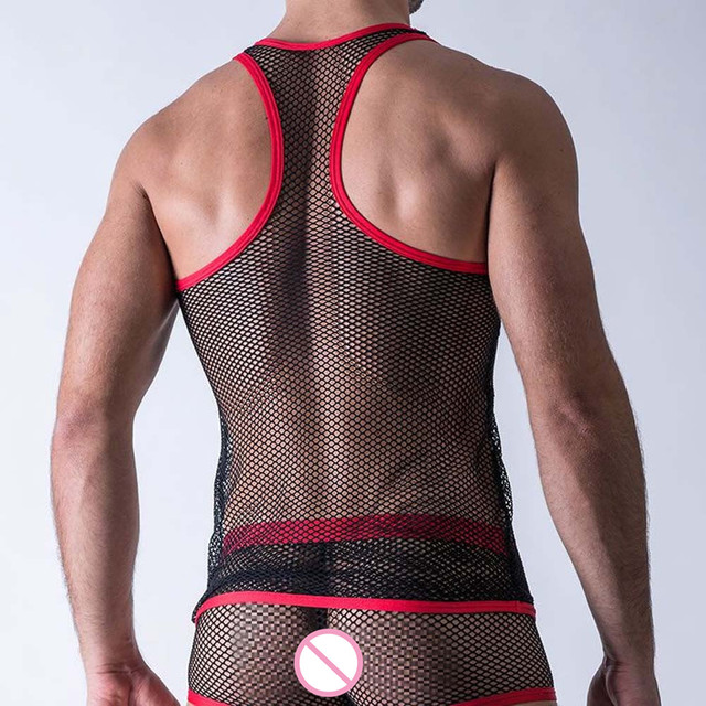 Man Sexy Fishnet Lingerie Undershirts Men Singlet Plaid Transparent Mesh Underwear Men's Vest Gay Clothes T-shirt Club Wear 1