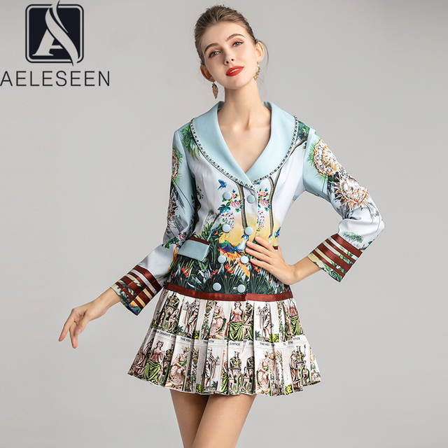 AELESEEN Office Lady Runway Floral Mini Dresses Women Luxury Diamonds Turn Down Collar Double Breasted 2020 New Pleated Dress