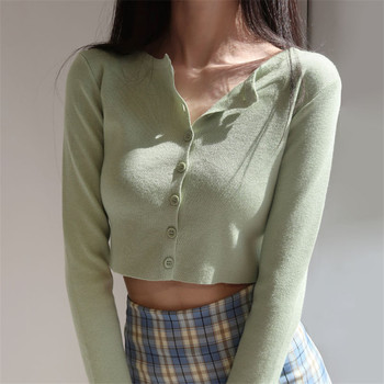 Korean Style O-neck Short Knitted Sweaters Women Thin Cardigan Fashion Sleeve Sun Protection Crop Top Ropa Mujer image