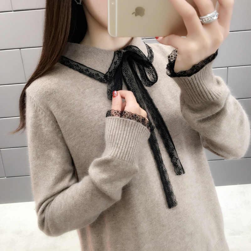 Vintage Kerah Yg Terlipat Ke Bawah Kerah Musim Gugur Longgar Sweater Wanita 2019 Korea Lace-Up Wanita Rajutan Pullovers Kasual Wanita Jumper sweter Top