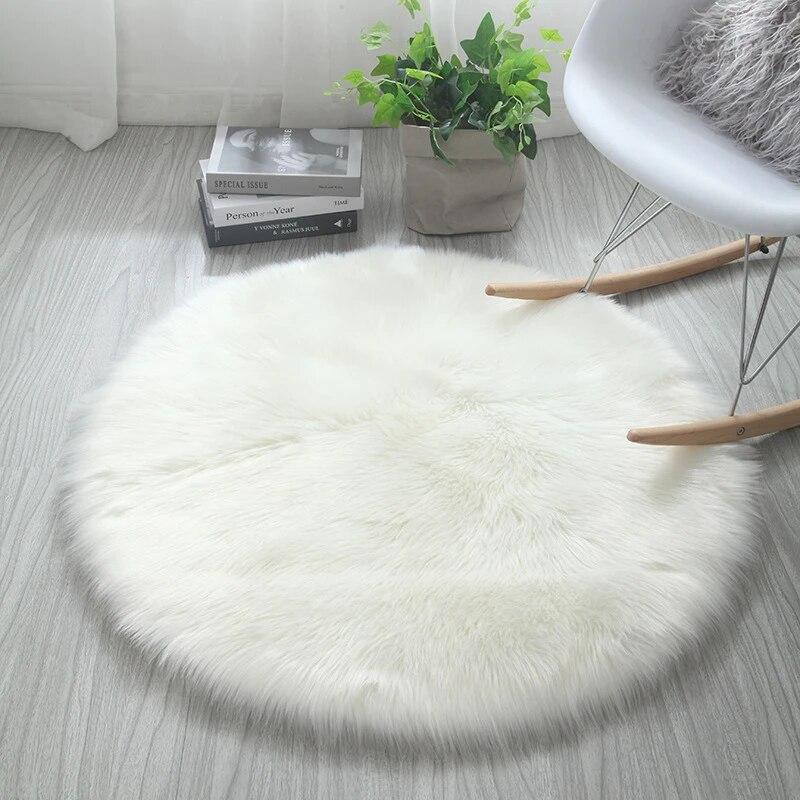tapis rond en fausse fourrure doux lavable soyeux blanc rose sur mesure pour la maison le salon la chambre a coucher