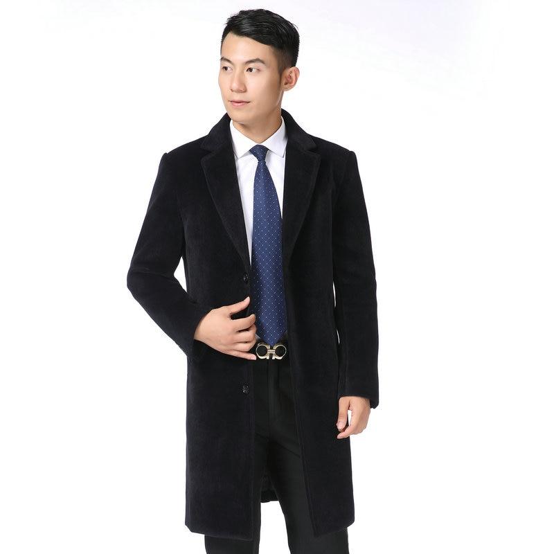 Hiver homme vison cachemire mélange pardessus noir gris Long laine Tweed manteaux hommes d'affaires élégant genou longueur crantée col Outwear