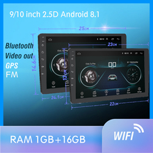 9/10 inch Android Touch Screen 2Din Car radio GPS Multimedia Autoradio Navigation Wifi Bluetooth one din android Car Radio