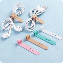 4Pcs סיליקון רצועת וו לולאה כבל המותח אוזניות כבל אוזניות מארגן כבל עניבה
