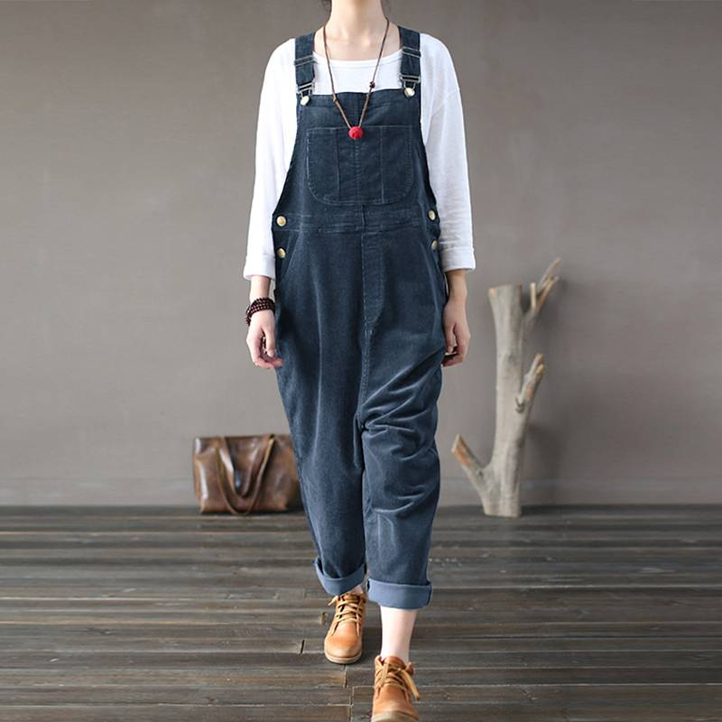 M 5XL ZANZEA Spring Playsuits Vintage Corduroy Jumpsuits Solid Work Overalls Women Casual Long Harem Rompers Pantalons Female