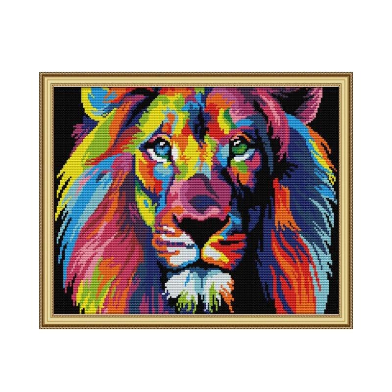 Цветной Лев Вышивка крестом Комплект aida 14ct 11ct печать холсты стежков вышивка DIY Ручная работа|Упаковка| | - AliExpress