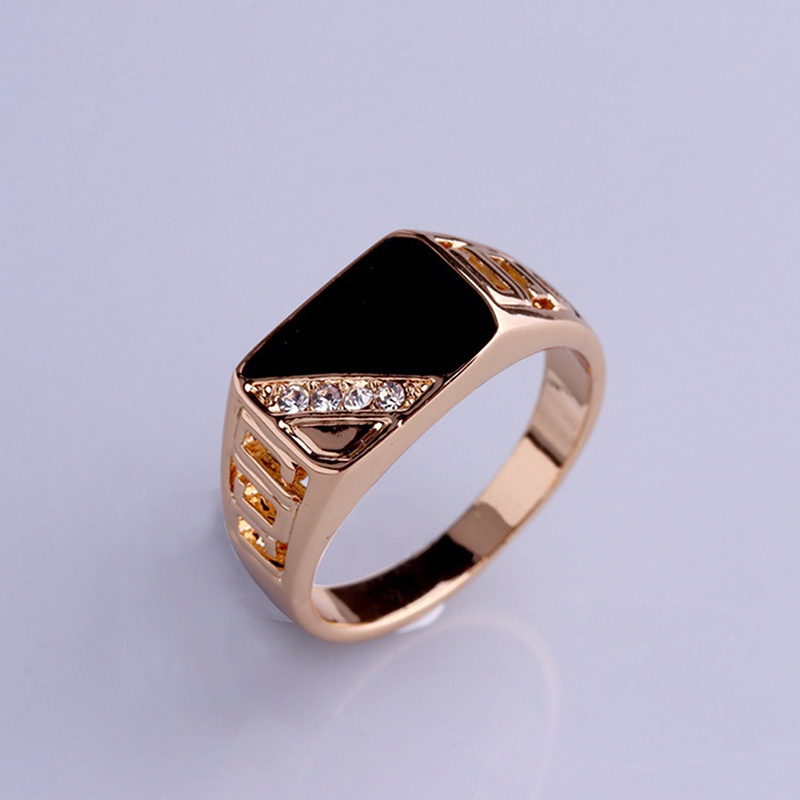 Fashion Male Jewelry Classic Gold Color Rhinestone Wedding Ring Black Enamel Rings For Men Christmas Party Gift