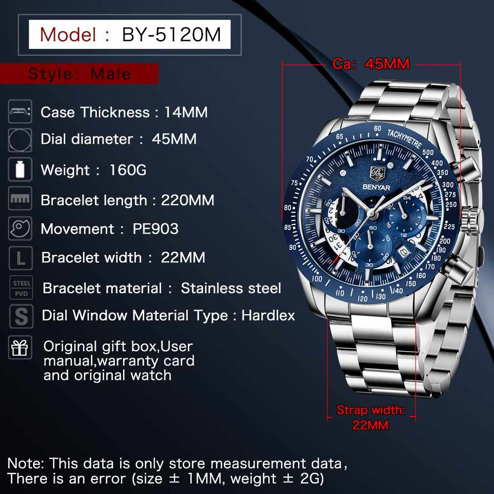 Reloj Hombre 2020 BENYAR מותג שעון גברים ספורט הכרונוגרף קוורץ עסקים עמיד למים גבוהה-סוף כחול שעונים Relogio Masculino