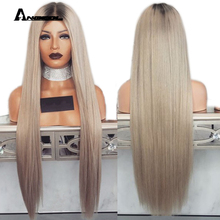 Anogol Ombre Ash Blonde Long Straight Synthetic Lace Front Wig with Baby Hair For Adult Women Middle Part