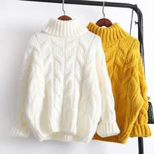 秋冬タートルネックプルオーバーセーター女性ルース暖かい厚みの特大ニットセーター女性のカジュアルな白のセーター Q1787