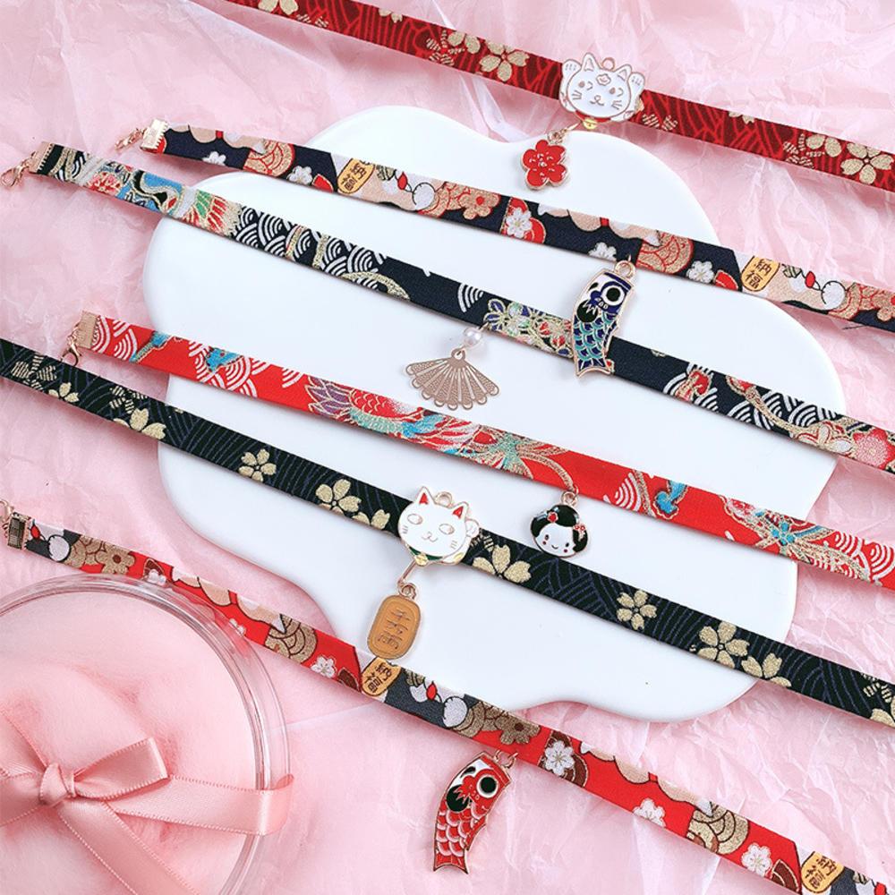 2020 New Classic Japanese Style Ribbon Rope Doll Choker Cute Romantic Women Girls Bird Cat Carp Pendant Short Necklace Jewelry