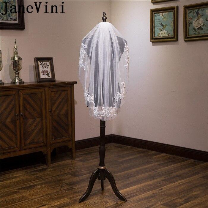 JaneVini Dedo Véu Do Casamento com Pente Frisado Apliques de Renda Uma Camada Véus De Noiva Branco Marfim Véu Curto Noiva weding vels