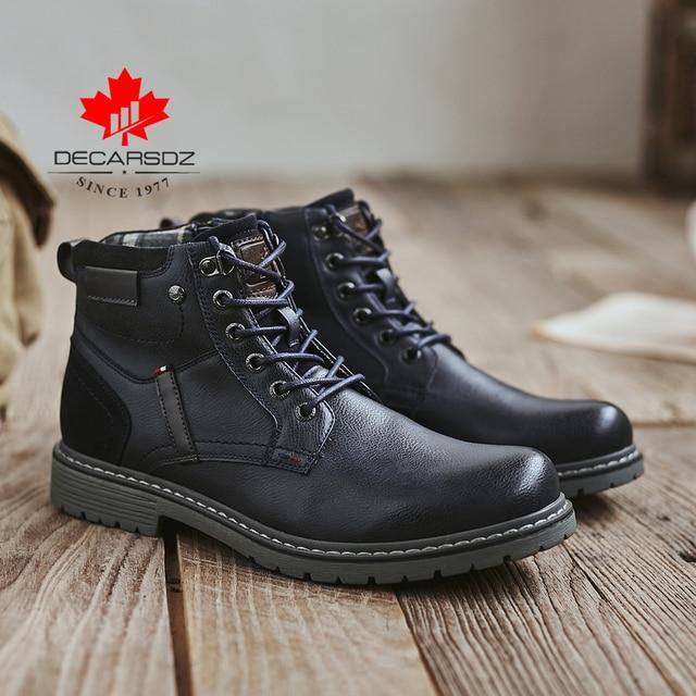DECARSDZ Men Boots Autumn Comfy Durable outsole Lace-up Fashion Shoes Men 2020 Leather Casual Boots Men Brand design Men's Boots 2
