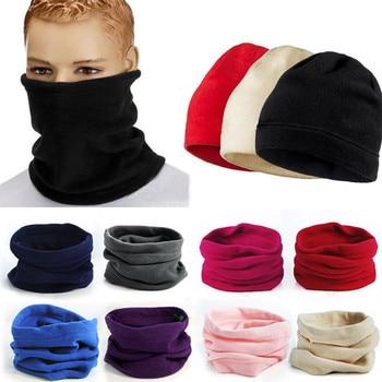 Men Women Unisex Polar Fleece Snood Hat Neck Warmer Face Mask Cap Warm Winter bonnet Scarf Multifunctional Scarf women s knitted hat cap ear flaps w ball scarf snood yellow white
