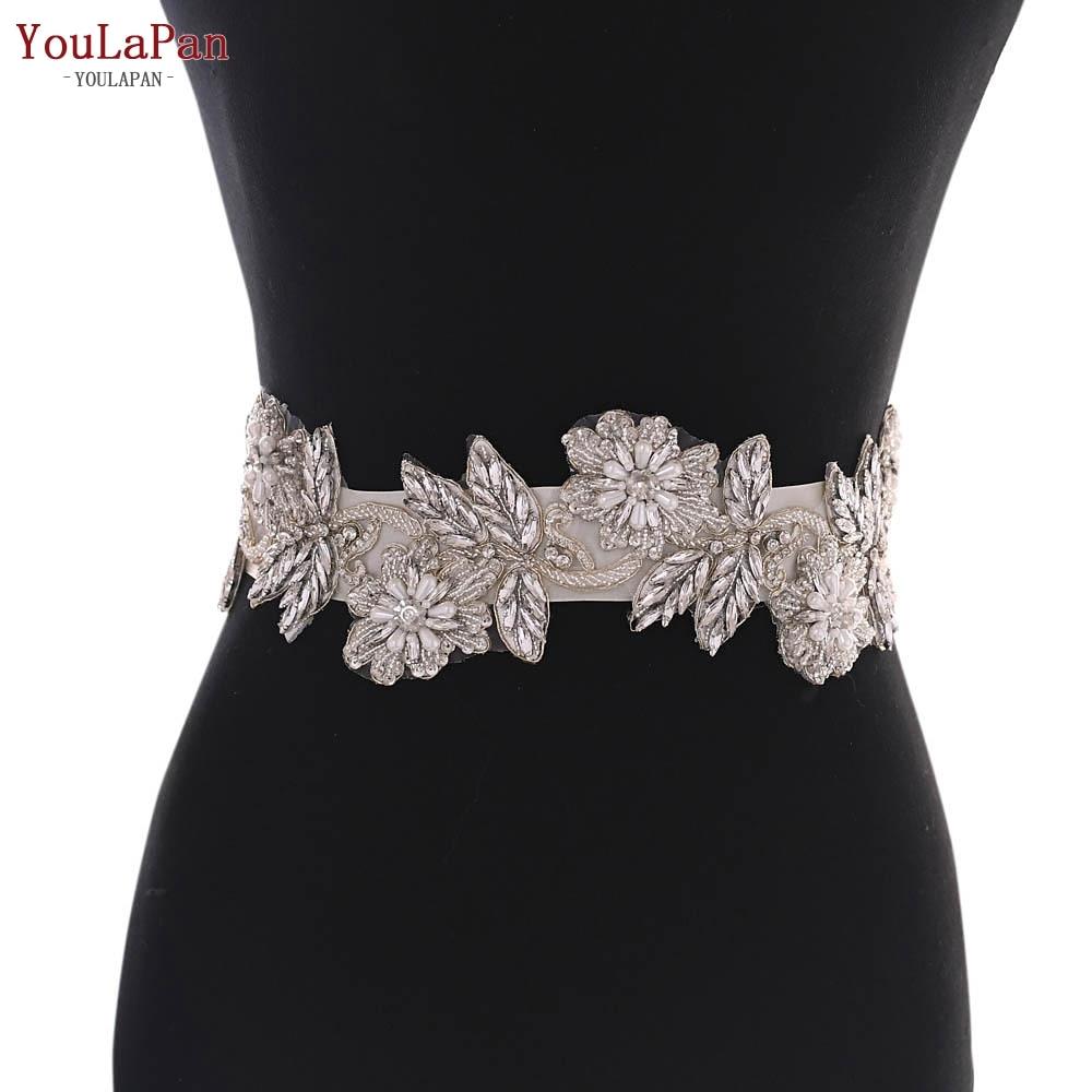 YouLaPan S427 Wedding Dress Belt Crystal Belt Sash Beaded Bridal Sash Bridal Belt Pearl Flower Wedding Belt Ribbon For Belt