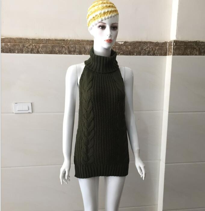 2020 Summer New Turtleneck Sleeveless Long Virgin Killer Sweater Japanes Knitted Sexy Backless Women Sweaters And Pullovers 9