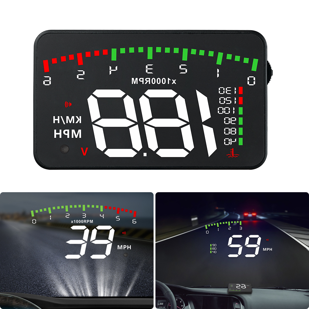 A900 Car HUD OBD RPM Meter Head-Up Display Car Accessories Multi-Display Car Digital Speed  RPM Water Temperature