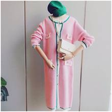 Sweater Pink Dress Elegant Ladies Bodycon Midi Dresses Single-breasted Long Sleeve Knitted Cardigan Women ropa mujer pull femme()