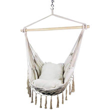 Macrame Lounging Hanging Rope Hammock Chair Porch Swing Seat for Indoor & Outdoor Garden Patio Yard Bedroom