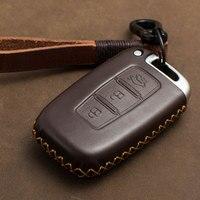 1 PCS Genuine Leather Car Key Case For Hyundai Elantra Sonata Tucson Verna I30 IX35 IX45 Key Cover Holder Car Accessories|Key Case for Car| |  -
