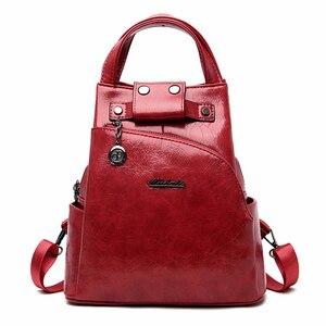Image 1 - 2019 kobiet skórzane plecaki wysokiej jakości Sac A Dos Anti theft plecak dla dziewczynek Preppy torby szkolne dla dziewczynek Casual Daypack