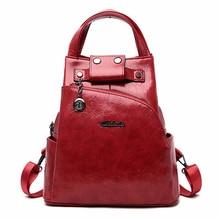 2019 المرأة حقيبة ظهر مصنوعة من الجلد عالية الجودة كيس دوس مكافحة سرقة على ظهره للفتيات Preppy الحقائب المدرسية للفتيات عادية Daypack